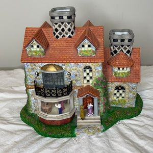 """PartyLite """"Old World Villiage """" two candle holder"""